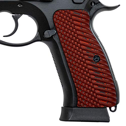 Guuun G10 CZ 75 Grips for Full Size CZ SP-01 OPS Texture - 8 Color Options - Red/Black