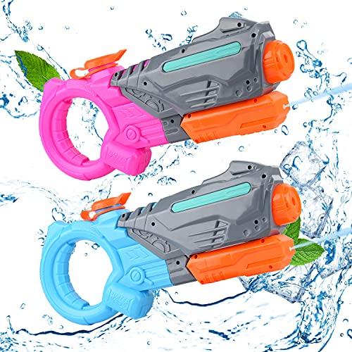 Herefun 2 Pcs Pistola de Agua, Pistola Agua Juguete Verano Pistolas Agua, Pistola de Agua Niños, Playa Fiestas Piscina Pistola Agua, Pistola Agua Alcance Largo 10M, Capacidad de 316ml (Polvo Azul)