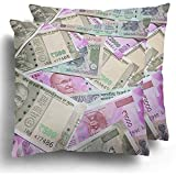 Not Applicable Paquete de 2 2000 500 y 100 Rupias Monedas Rupias Note Bank Cash Throw Cushion Cases para Aircraft Travel Rest