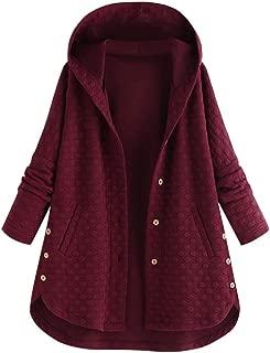 Beautyfine Plus Size Coat Women Winter Vintage Pure Color Button Asymmetrical Hem Hooded Outwear