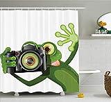vrupi Cortina de Ducha Animal fotógrafo Feliz Rana con su cámara Foto diversión patrón de Dibujos Animados Tela Cortina de baño baño niños Calidad Decorativa poliéster Impermeable 180 * 180 cm