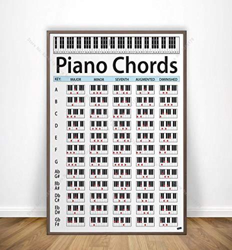 Piano akkoord schilderij sleutel muziek grafische oefening grafiek studie poster print Wall Art Canvas foto woonkamer Home Decor 50x75cm frameloze