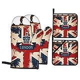 4Pcs Ofenhandschuhe und Topflappen-Sets,Weinlese-Reisekoffer mit britischem Flaggen-London-Band und...