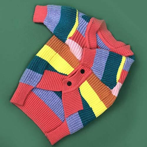 HD2DOG hond trui jas met knop, regenboog strepen herfst winter casual met de hand gebreid vest kleurrijke kleding -XTM167