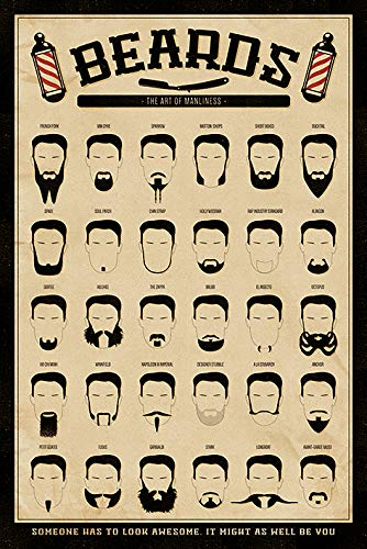 Pyramid International' Beards The Art of Manliness Maxi Poster, Wood Multi-Colour, 61 x 91.5 cm