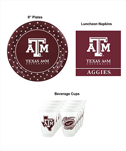 Fantastic Prices! Westrick Texas A&M Aggies Party Supplies for 16 Guests - 48 Pieces