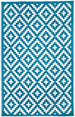 Recycled Plastic Outdoor Rug and Mat | Size 180x270 cm | | Aztec Teal