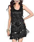 L'VOW 1920s Flapper Dress for Women Roaring 20's Gatsby Sequin Fringed Costume Dress Black (Black, M)