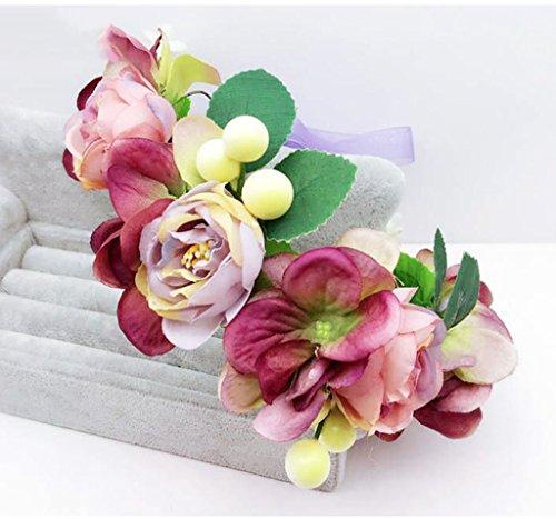 ZGP Couronne de Coiffure Couronne de Fleurs, Bandeau Fleur Garland Fête de Mariée à la Main à la Main Fait Bande Bandeau Bracelet Bande de Cheveux (Couleur : D)