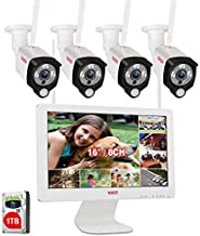 [2 Way Audio]Tonton Expandable Wireless All-in-One Full HD 1080P Security Camera System with 16 Inch Monitor,8CH WiFi NVR with 1TB HDD,4PCS 2MP Outdoor Bullet IP Cameras with PIR Sensor,Plug and Play
