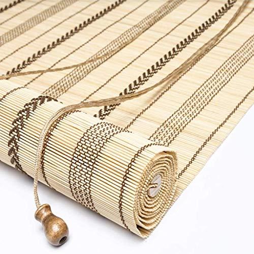 L&WB Bamboe Blinds 45 Cm / 65 Cm / 85 Cm / 105 Cm / 125 Cm / 135 Cm Breedte Rolluiken - Bamboe 50% Blackout Zonnescherm Japans-Stijl voor Balkon Deur met Paviljoen