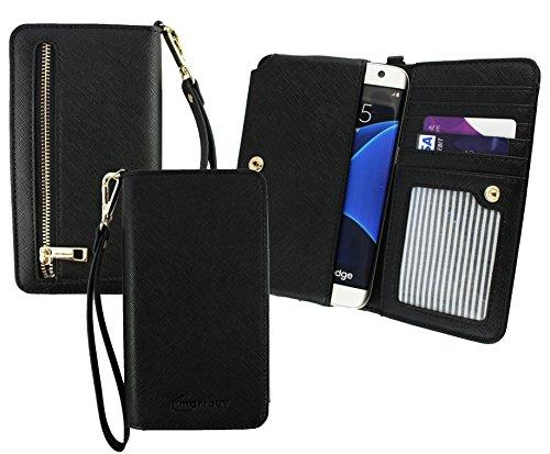 Emartbuy® Schwarz PU Leder Kupplung Geldbörse Hülle Tasche sleeve ( Größe 3XL ) Mit Münzfach, Kartensteckplätze & Abnehmbare Handschlaufe Geeignet Für Allview P6 Energy Lite