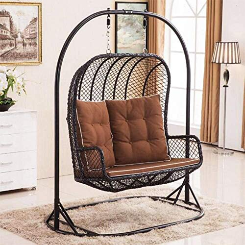 LARGE Double Egg Chair Bench Swing Wicker Rattan Hanging Garden Patio Indoor/Outdoor Includes Cushions - Newest Design
