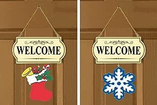 Welcome Sign 10 Pieces Set Interchangable Door Hanging Festive Whimsical Decor - 11 1/2