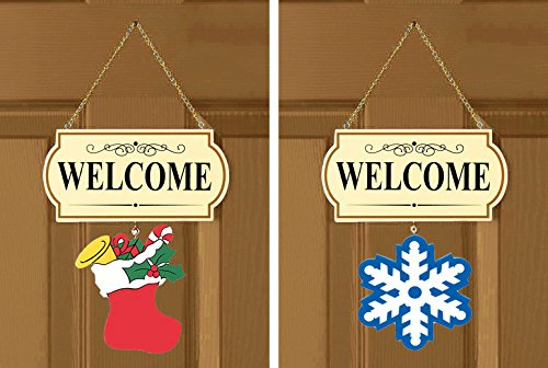 10 Pieces Set Seasonal Welcome Signs Interchangable Door Hanging Festive Plaque Whimsical Decor - 11 1/2' L x 4 1/4' H, Each Design Approx. 4 1/2' L x 4' H.by CTD Store