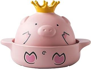 l.e.i. Cartoon Pig Ceramic Casserole with Lid,Clay Pot Stew Pot Soup Hot Pot Household Gas Ear Handle Stockpot Pink 2.43Quart