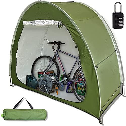 Carpa de Almacenamiento para Bicicletas al Aire Libre, Resistente al Agua 210D Tela Oxford Recubierta de Plata y Soporte de Aleación Reforzada, Refugio con Ventana (Verde)