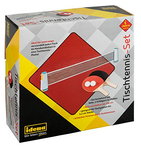 Idena 40204 - Juego de Ping Pong con Red, Dos paletas y Dos Pelotas, para un Montaje fácil en tableros de Mesa, Viajes, Vacaciones o en el jardín