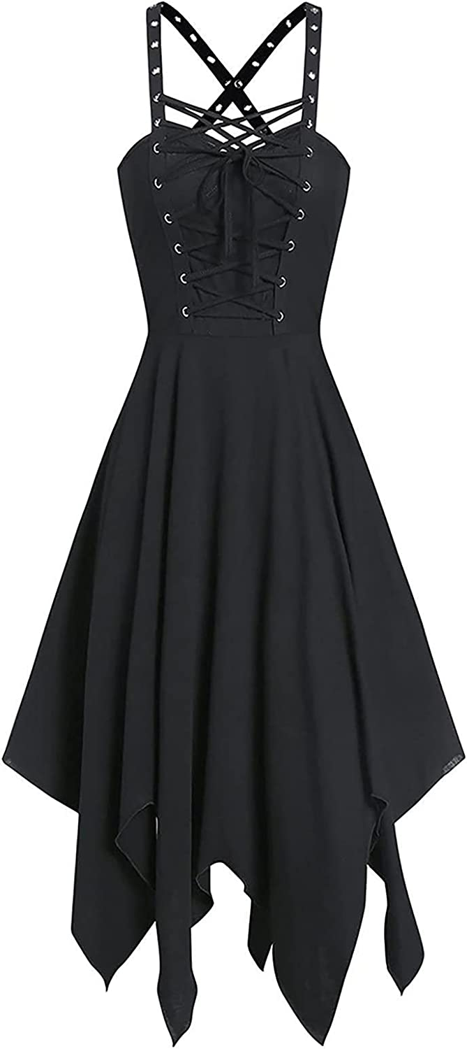Shaloly Christmas Halloween Gothic Style Dress for Women, Casual Sling V-Neck Solid Color Dark Black Halloween Dress