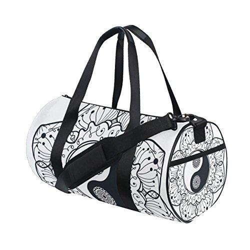 jstel Ying Yang Ba Gua Mandala bolsa de deporte gimnasio para hombres y mujeres bolsa de viaje de viaje