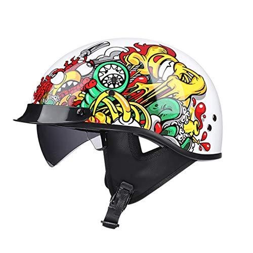 GAOZHE Retro Helme Sun Visor Retro Men andWomen for Adult Motorcycle Cap with Open Face Motorbikes Helmet for Mofa Crash Moped Cruiser DOT Approved