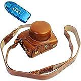 First2savvv XJD-J5-HH09G10 marrón Calidad premium Funda Cámara cuero de la PU cámara digital bolsa caso cubierta con correa para Nikon 1 J5 con lente 10-30mm + Lector de tarjetas SD