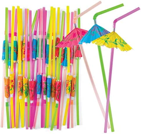Prextex Umbrella Drinking Straws Bulk Pack of 220 Assorted Color Bendable Party Straws with product image