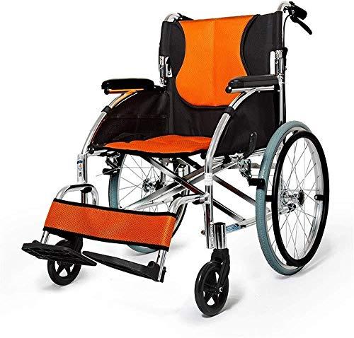 Busirsiz Rollstuhl mit großem Räder, zusammenklappbar, mit vier Handbremsen, für ältere Menschen, Behinderte und behinderte Nutzer, Outdoor-Reisen, Ausflüge