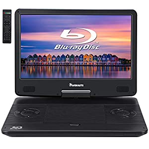 Portable Blu-Ray DVD Player with Built-in Rechargeable Battery, AUX Cable, Supports 1080P MP4 Video, HDMI Input/Output, Dolby Audio