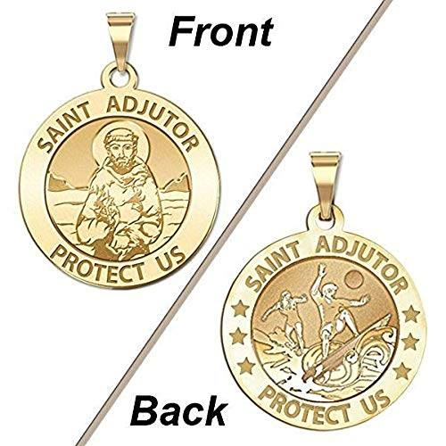 PicturesOnGold.com Saint Adjutor Doubles Sided Surfing Religious Medal - 1 Inch Solid 14K Yellow Gold