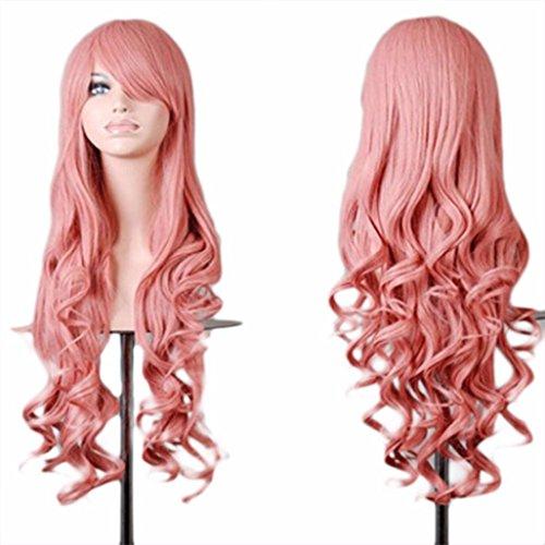 Vovotrade Femmes Lady Long Ondulé Cheveux Bouclés Anime Cosplay Partie Pleine Perruque_Rose