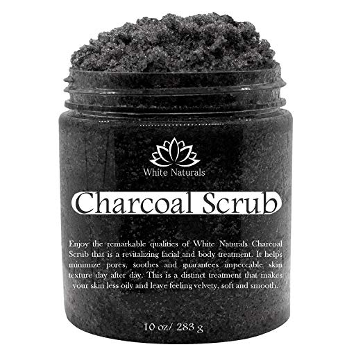 Activated Charcoal Scrub By White Naturals: Face & Body scrub, Reduces Wrinkles, Blackheads & Acne Scars, Natural Skin Care, Organic Pure Vegan Scrub Wash For Skin Exfoliation& Detox