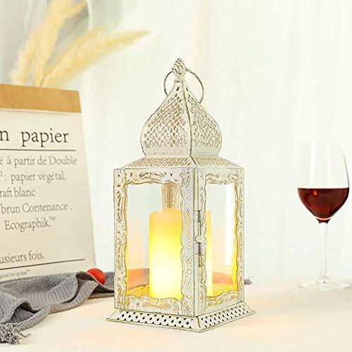 JHY DESIGN Deko Hängend Kerzenlaterne 31cm Hohe, Metall mit glas Kerzen Laternen Vintage Gartenlaterne Windlicht Benutzt,für Außen Innen Partys Hochzeiten Garten Balcony deko(Weiß)