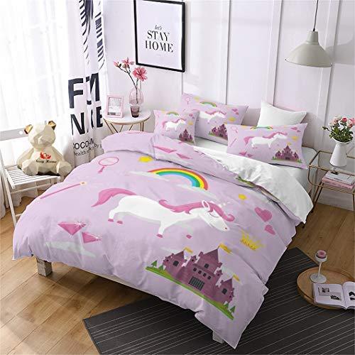 Jessy Home Duvet Cover 2 Piece Twin Size Rainbow Unicorn Quilt Cover Castle Bedroom Decora for Girls Children Gift Cartoon 3D Cute Bedding Set Violet (1Pillow Cases)