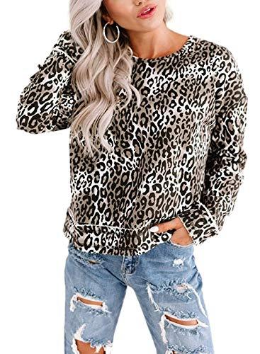 CORAFRITZ Sudaderas Informales con Cuello Redondo para Mujer Jersey de Leopardo de Manga Larga Camisetas para Mujer Tops Largos para Usar con Leggings Túnica Suéter Sudadera