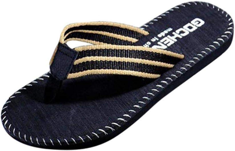 QRETYSG flip flop Slipper Men Summer Stripe Flip Flops shoes Sandals Male Slipper Flip-flops flat Beach Home shoes