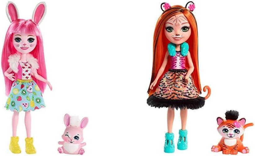 Enchantimals Bree Bunny y Twist, muñeca con Mascota (Matty FXM73) + Muñeca Tanzie Tiger - (Mattel FRH39)