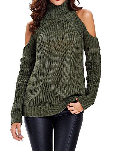 Choies Women's Green High Neck Cold Shoulder Long Sleeve Sweater Pullover XL