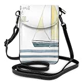 Jiger Women Small Cell Phone Purse Crossbody,Let Your Dreams Set Sail Quote Stripes Yacht Interior Navigation Theme