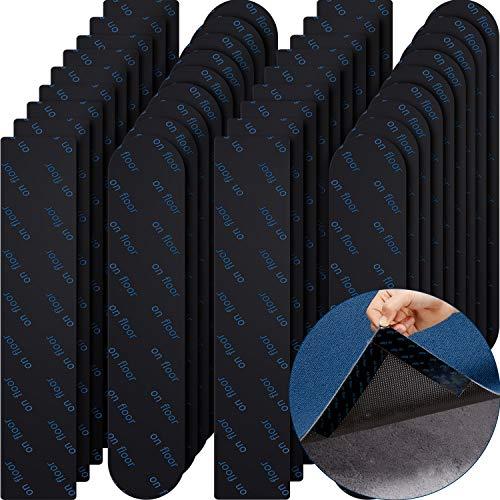 32 Stücke Teppich Greifer Anti-Rutsch Eck Greifer Teppich Greifer Pads Rutschfester Griffmatten Schutz Klebriges Waschbares Teppich Band für Hartholz Böden und Fliesen, Schwarz