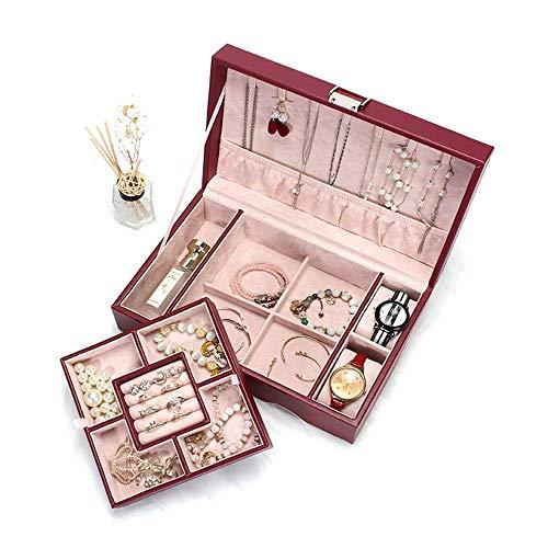 Joyería organizador caja joyería caja de joyería de gran capacidad caja de almacenamiento de la caja de joyería de mano princesa europeo coreano collar pendiente caja simple para niñas madre mujeres w