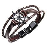 Zivom® Triple Layer Black Infinity Charms Brown Braided Leather Wrist Band Strand Bracelet For Men Women Boys Girls