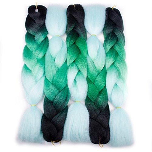 Forevery Braiding Hair Synthetic Kanekalon Ombre Hair Braiding Extensions 5Pcs High Temperature Fiber Crochet Twist Jumbo Braids Black to Green to Light Green (24', 11#)