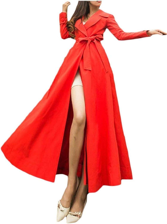 Womens Lapel Overcoat Trench Coat Maxi Outwear Casual Long Sleeve Jacket