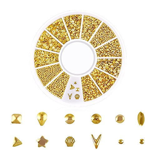 Nail Stickers, vmree 1 Box Gold Charms Summer Sea Metal Alloy Rivets Shell Starfish Moon Star Sun Snowflake Mixed Shaped Nail Art Studs DIY Films Foils for Manicure Decoration (D)