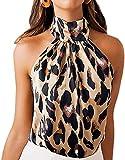 Crop Top sin Mangas para Mujer Tops Camisa Sexy de Cuello Halter Blusa con Estampado de Leopardo Camiseta Corta Transpirable Verano con Botones en Posterior (Leopardo, L)