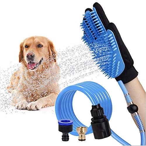 Huisdier douche borstel Tool, 2-In-1 huisdier automatische waterspray schoonmaak handschoenen en draagbare siliconen slang douchekop met 3 kraanadapters voor buiten en binnen