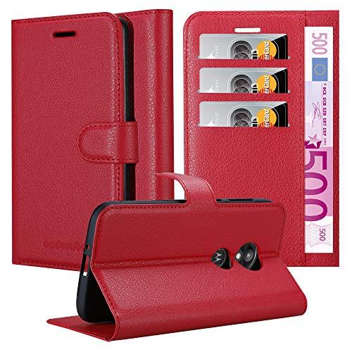 Cadorabo Hülle für Motorola Moto E5 Play in Karmin ROT - Handyhülle mit Magnetverschluss, Standfunktion & Kartenfach - Hülle Cover Schutzhülle Etui Tasche Book Klapp Style
