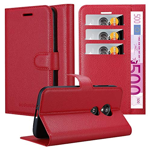 Cadorabo Hülle für Motorola Moto E5 Play - Hülle in Karmin ROT - Handyhülle mit Kartenfach und Standfunktion - Case Cover Schutzhülle Etui Tasche Book Klapp Style