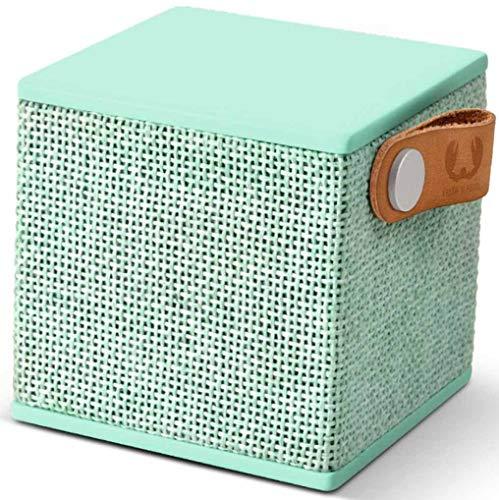 Fresh 'n Rebel Speaker Rockbox Cube Fabriq Edition, Altoparlante Bluetooth portatile 3W, mini cassa senza fili in tessuto, vivavoce integrato, Compatibilità Smartphone/Tablet/laptop e MP3, Peppermint, latte e menta